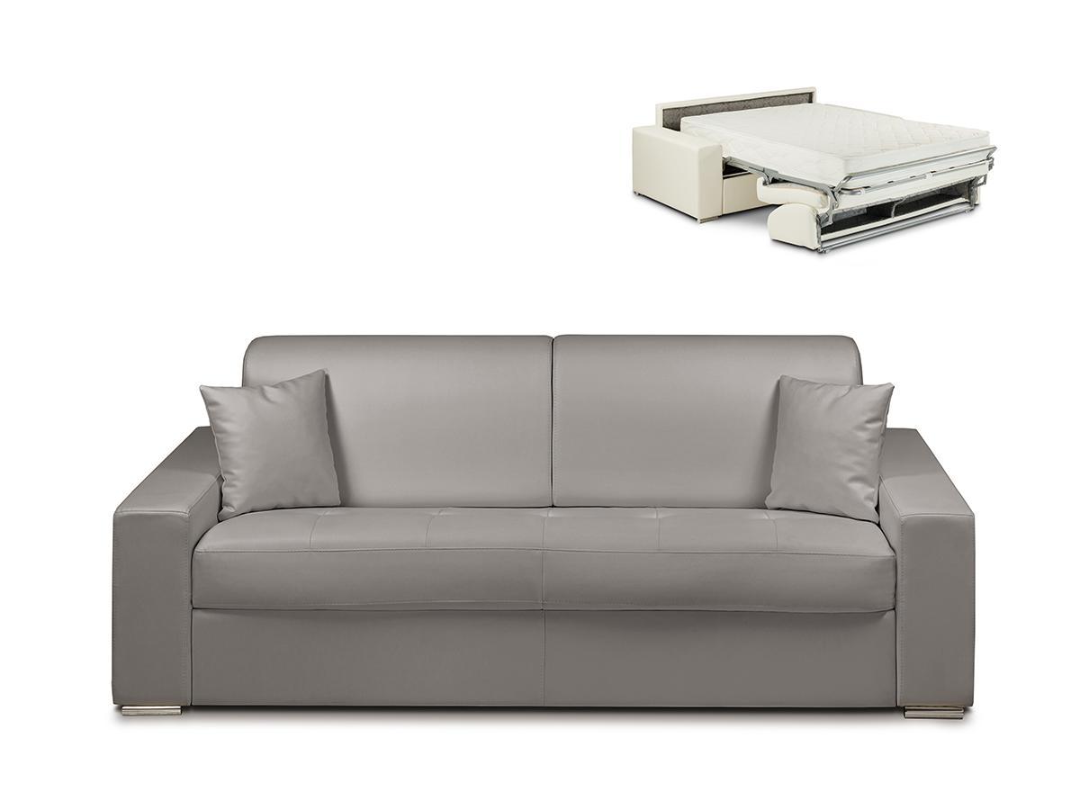 Schlafsofa 4-Sitzer EMIR - Grau - Liegefläche: 160cm - Matratzenhöhe: 22cm