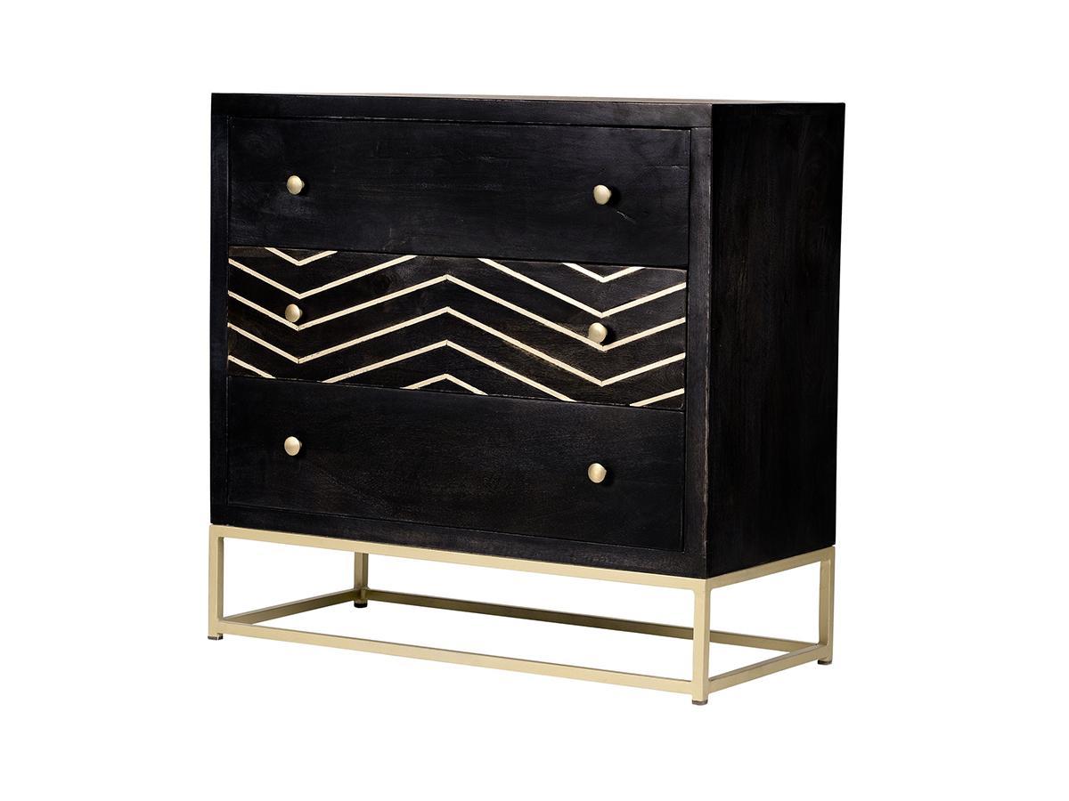 Kauf-Unique Kommode Art Déco Holz & Metall PRISMIN - 3 Schubladen 495923