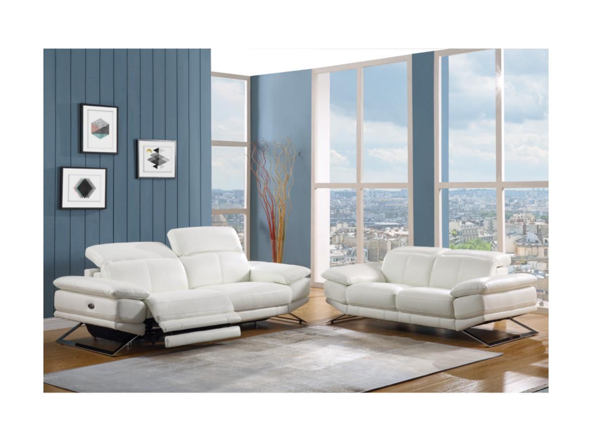 Relaxsofa Leder 3-Sitzer PUNO - Weiß