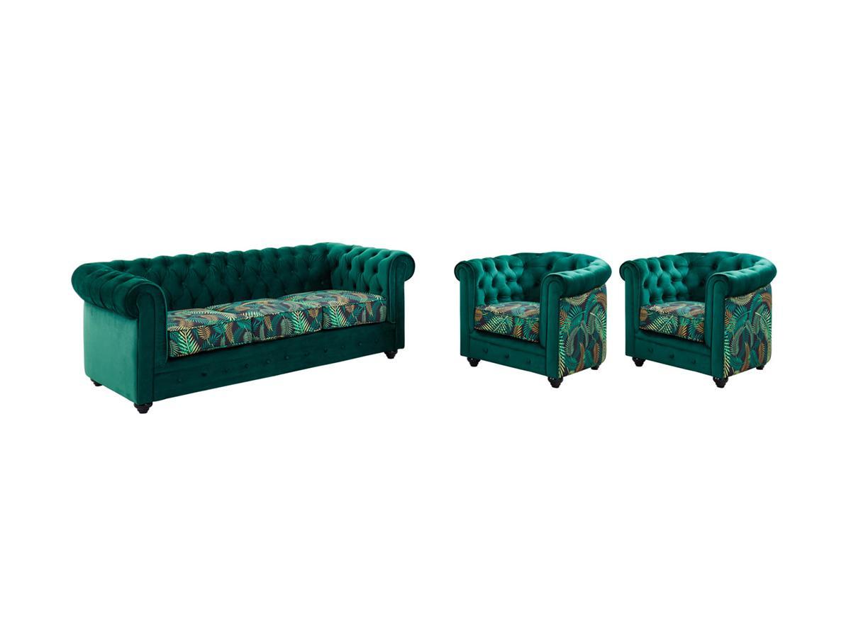 Kauf-Unique Couchgarnitur 3+1+1 Samt Chesterfield EWA 419357