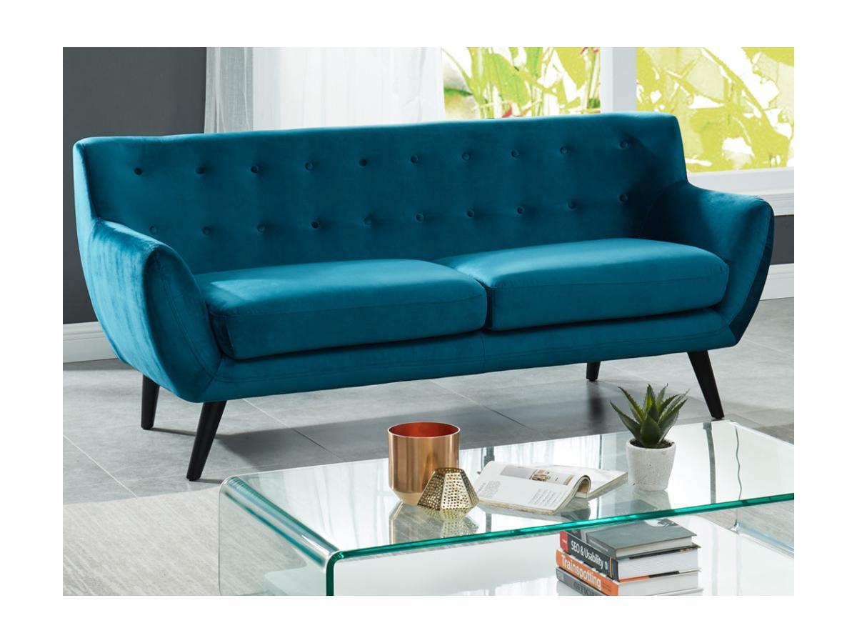 3-Sitzer-Sofa Samt SERTI - Blaugrün