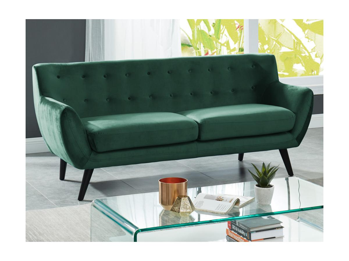 3-Sitzer-Sofa Samt SERTI - Tannengrün