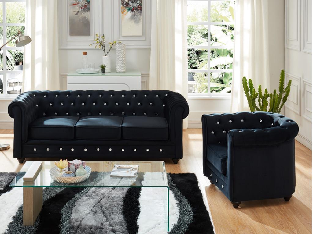 Kauf-unique Couchgarnitur 3+1 Samt Chesterfield ANNA - Schwarz mit Kristallknöpfen 422869