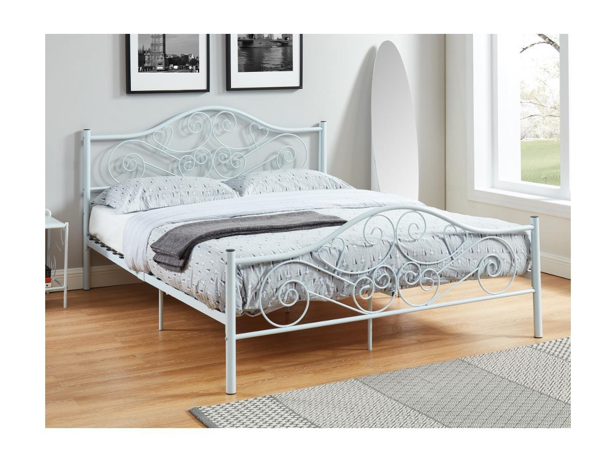 Metallbett mit Lattenrost LEYNA - 160x200cm - Weiß
