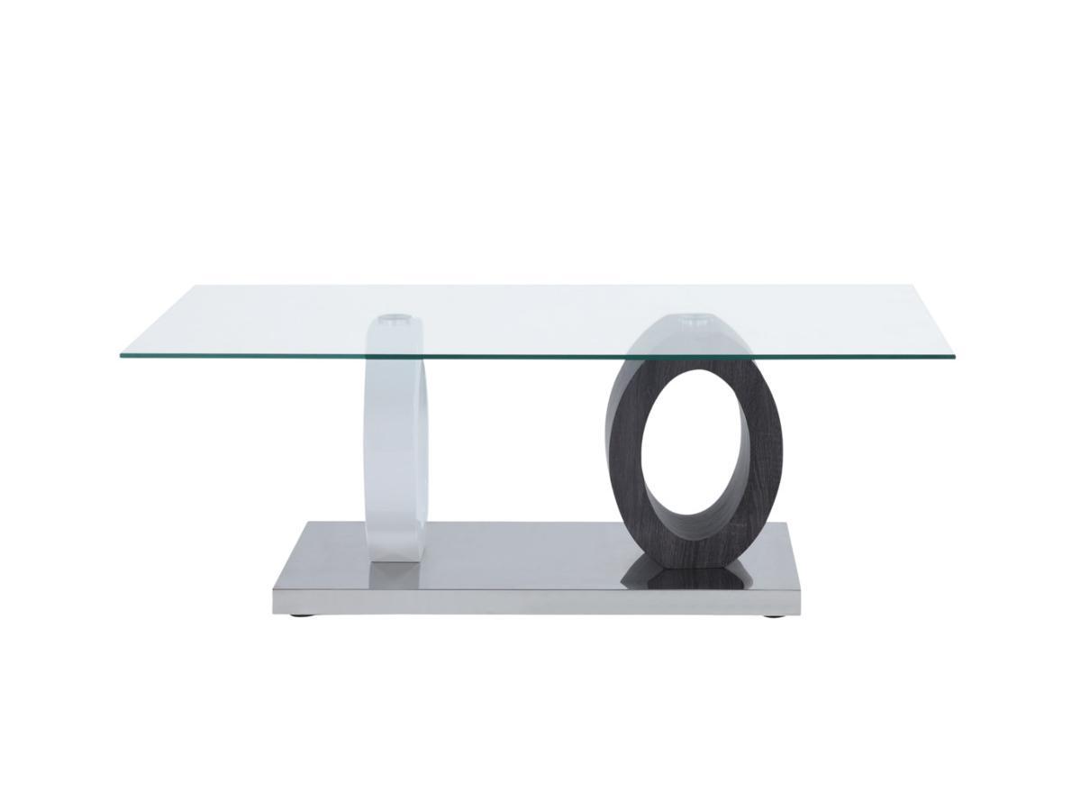 Couchtisch Glas AYANE - Grau/Weiß