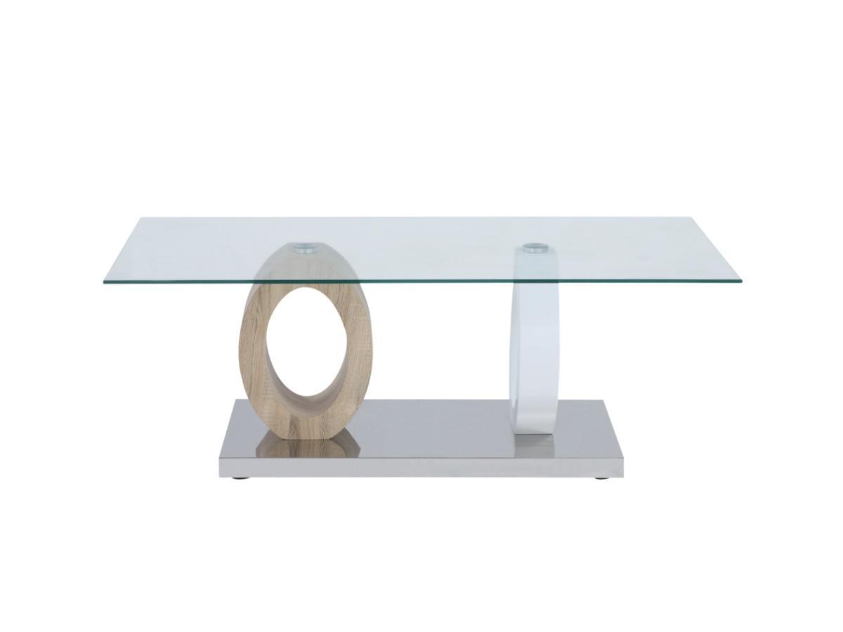 Couchtisch Glas AYANE - Eichenholzfarben/Weiß