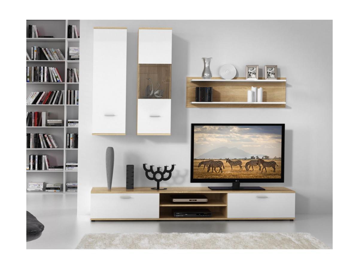 TV-Möbel TV-Wand mit Stauraum JEREMIAH - Eichholzfarben & Weiß